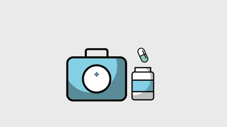 first aid kit : kit first aid medical bottle medicine capsule pills animation