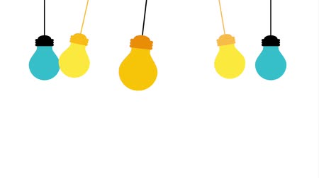 switch : hanging blue and yellow bulbs light power animation Stock Footage