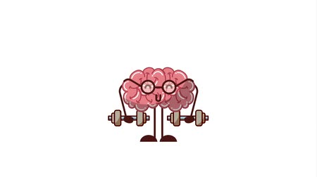 entellektüel : Cute strong brain with glasses lifting weight animation