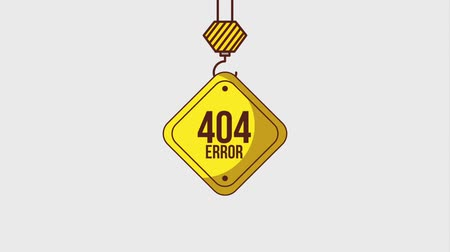 errado : 404 error page sign yellow hanging crane construction animation hd Stock Footage