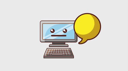 oeps : in aanbouw website kawaii computer en chat bubble animatie hd