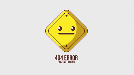 a böngésző : 404 error page not found kawaii sign board cartoon animation hd Stock mozgókép