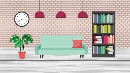 roman : interior library bookshelf sofa clock plants animation hd