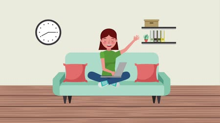 alfabetização : student woman sit in sofa with laptop books on shelf and clock animation hd Vídeos