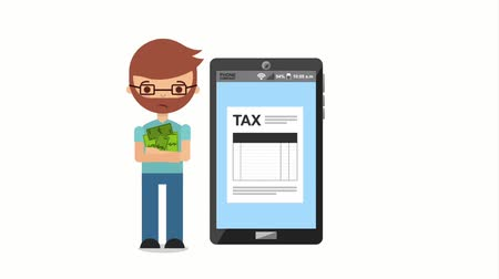refund : tired taxpayer with money and smartphone tax payment online