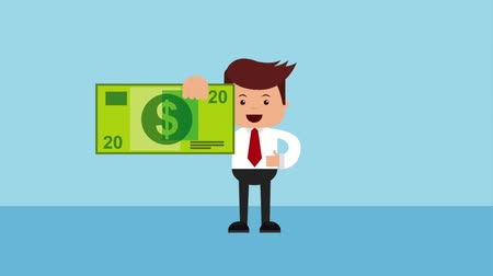 dolar : businessman holding banknote dollar money animation hd Dostupné videozáznamy