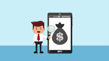 мысли : businessman holding magnifying glass and smartphone with bag money animation hd