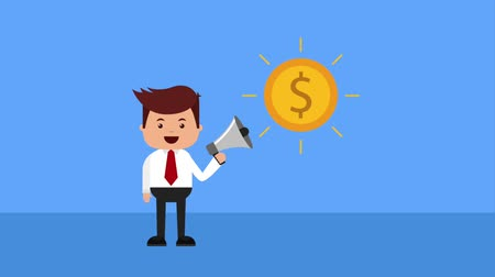 megafon : businessman holding megaphone advertising coin money animation hd