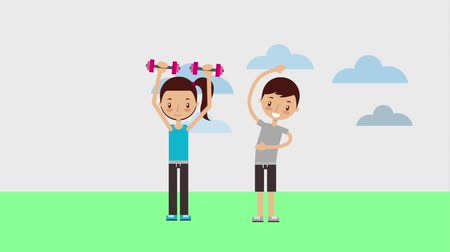 equilibrium : boy stretching and girl with dumbbell personal sport trainer animation hd