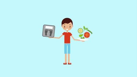 obsessive : boy holding balance food and scale animation hd