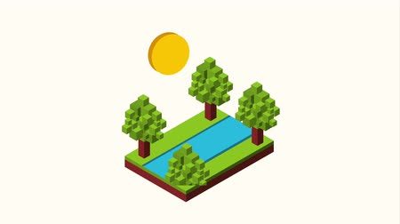 arquipélago : river trees cloud sun andscape isometric animation hd