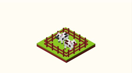 загон : cows are grazing in the corral landscape isometric animation hd