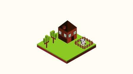 pastoral land : cottage with horse and cows in corral landscape isometric animation hd