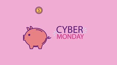 piggy bank : falling coins in piggy bank cyber monday animation hd