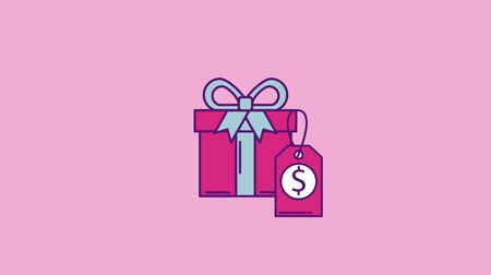 monção : gift box tag price cyber monday concept animation hd