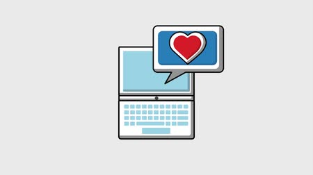 részvény : laptop love share follow notification viral content animation hd