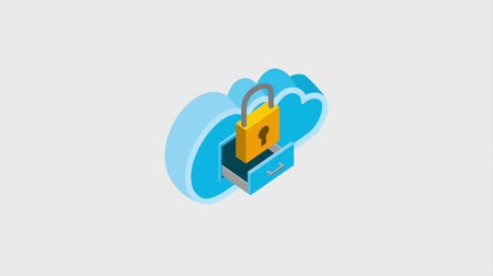 korespondence : cloud computing drawer security data storage isometric animation hd