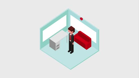 caricatura : businessman cartoon standing in office desk sofa animation