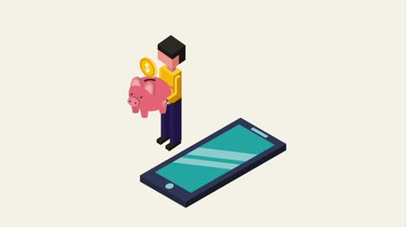 экономить : man holding piggy bank transfer smartphone animation Стоковые видеозаписи