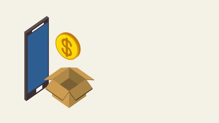 strongbox : smartphone box storage coins banking animation