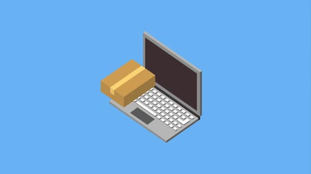 caixa de correio : laptop cardboard box checkmark online animation hd