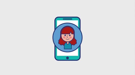 сотовый телефон : smiling girl in screen smartphone animation hd