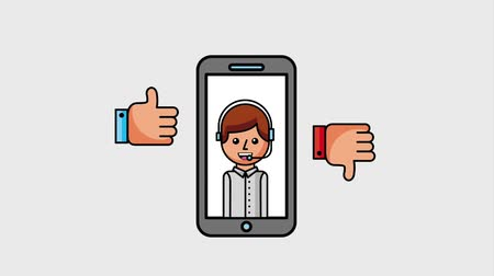 operators : smartphone with customer service operator thumb up and down animation hd