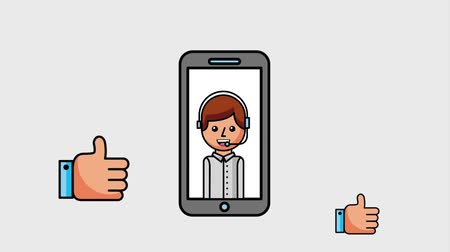 gesztus : customer service agent phone hands thumbs up ok animation hd
