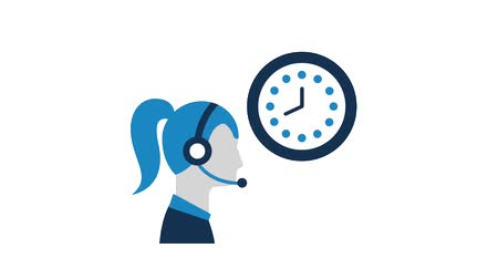 телемаркетинг : woman operator with headset clock customer service animation hd