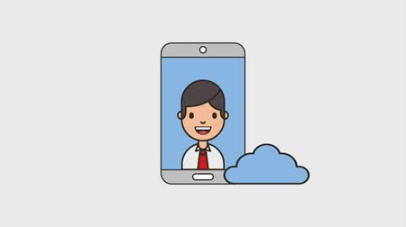 affiliate : smartphone businessman and cloud computing net work animation hd