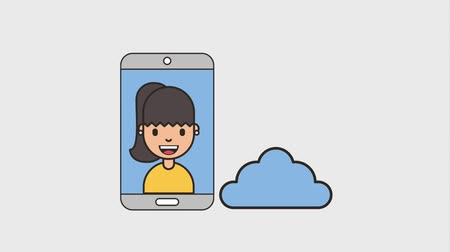 affiliate : woman and smartphone cloud computing download net work animation hd Stock Footage