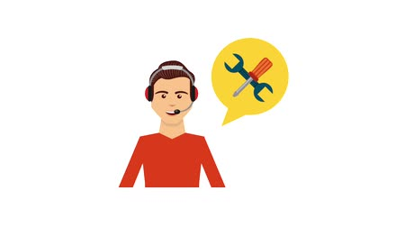 телемаркетинг : call center operator speech bubble support animation hd