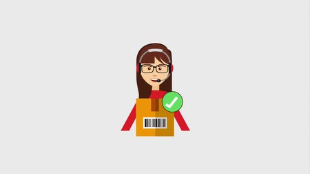 fragilidade : operator woman logistics delivery package check mark