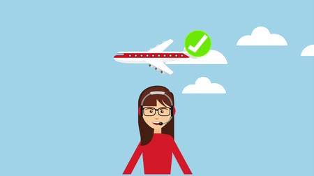dispatcher : woman dispatcher delivery logistics airplane check mark