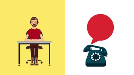 forródrót : operator with headset working in desk telephone customer service animation hd Stock mozgókép
