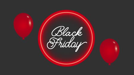 vissza : neon light back friday red balloons animation hd