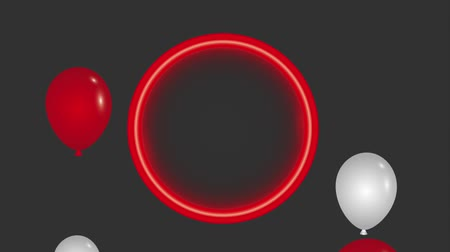 balão : red neon round frame balloons black background animation hd