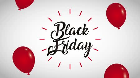 előléptetés : handwritten lettering balloons black friday animation hd Stock mozgókép