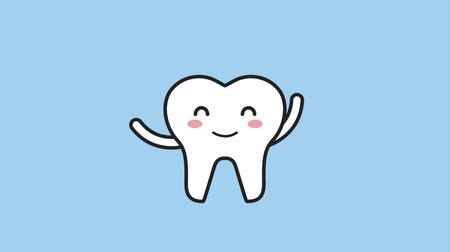 mascot : happy tooth waving hands cartoon character hygiene dental animation hd