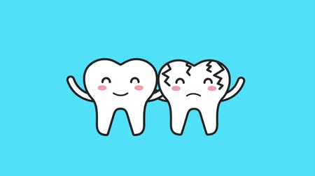 dor de dente : happy tooth and sick embraced characters hygiene animation hd