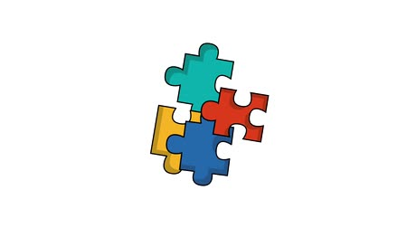 sorunlar : puzzle jigsaw connected strategy plan ilustration Stok Video