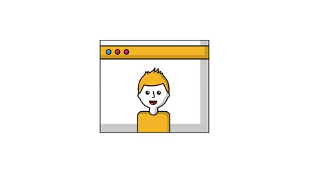 sticker : Mann Charakter in Website-Video-Illustration Videos