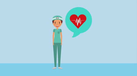 kardiolog : female doctor surgeon heartbeat in speech bubble ilustration