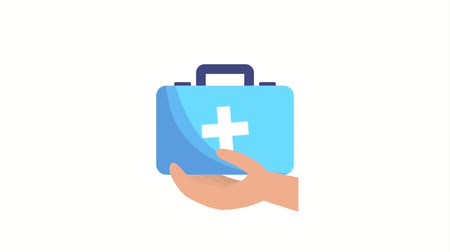first aid kit : hand holding first aid kit medical ilustration