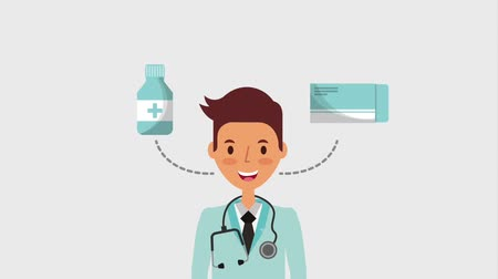 cápsula : doctor with stethoscope package medicine and bottle animation hd