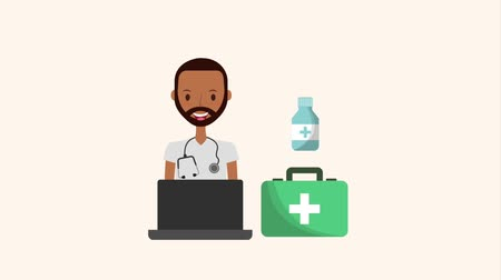 first aid kit : beard doctor laptop kit first aid equipment medical animation hd Stock Footage