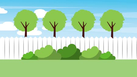 paisagístico : landscape backyard fence trees bushes nature animation hd Stock Footage