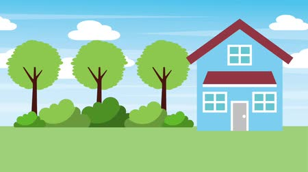 clipe : natural landscape house two floor trees bushes animation hd