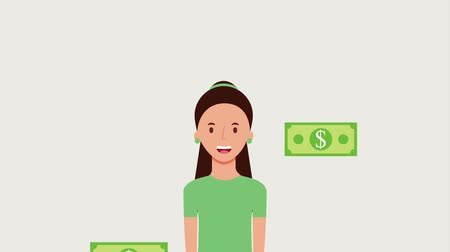 богатый : portrait woman and falling banknote dollar animation hd Стоковые видеозаписи