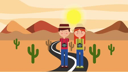 área de deserto : travelers couple in road desert mountains cactus animation